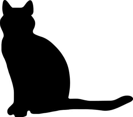 cat isolated: illustration of a black cat