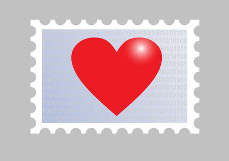 illustration of a stamp wiith a heart Vector