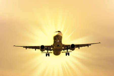 airplane preparing the landing Stock Photo