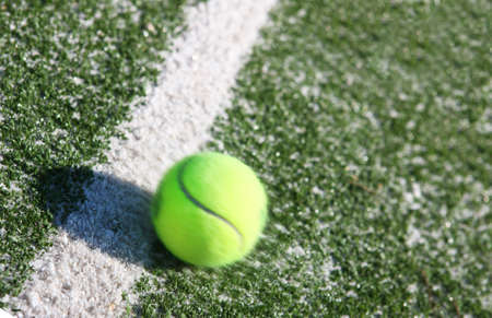 Tennis ball on the court line photo