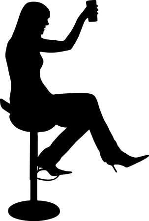 night bar: ilustraci�n de una mujer bebiendo