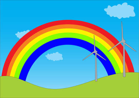 illustration of a landscape with a rainbow Vector