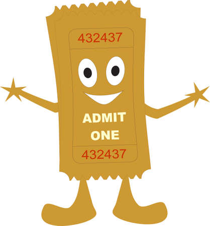 theater man: illustration of a ticket admit one