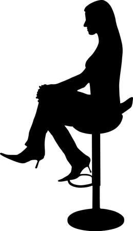 night bar: ilustraci�n de una mujer sentada en la silla