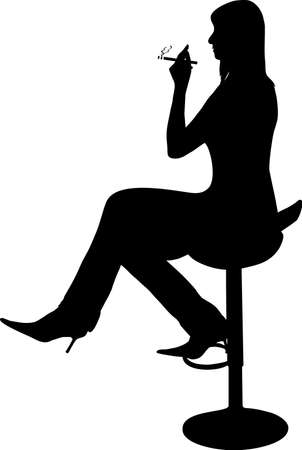 tempt: illustration of a girl smoking a cigarette Illustration