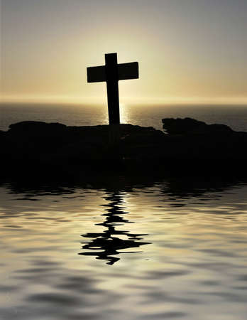 cross silhouette on top of the mountain photo