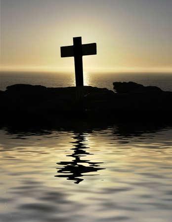 almighty: silhouette croce sulla cima della montagna