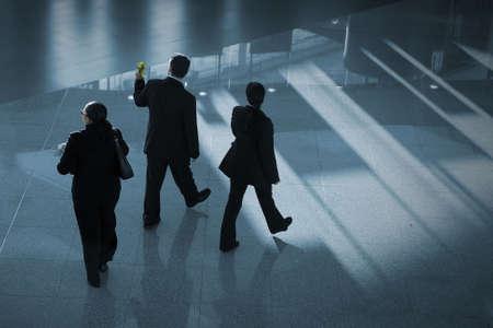 exhibition crowd: uomini d'affari a piedi in aeroporto