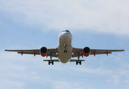 makes: Airliner Makes its Landing Approach with a blue sky
