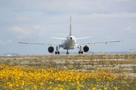 caused: rear view of an airplane landing with out of focus caused by the the airplane engines Stock Photo