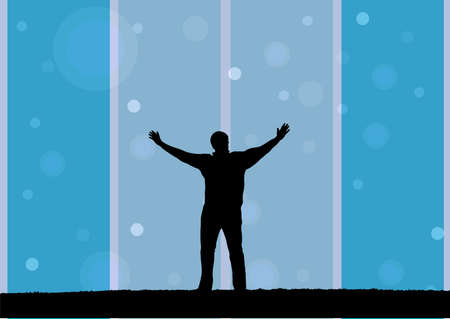 praise god: illustration of a man with open arms Illustration
