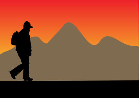 silhouette with backpack with a mountain in the background Vector