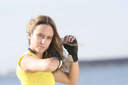 portrait of a girl with gloves photo