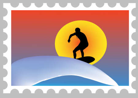 fearless: illustration of a mail stamp with a surfer