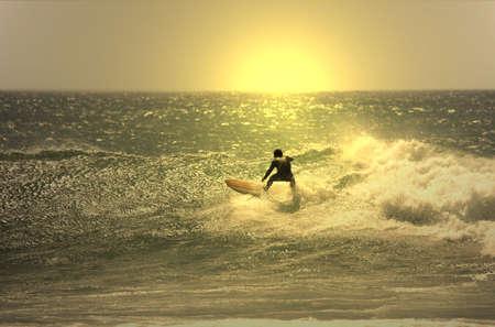 Sunset Surfer in der Welle Standard-Bild - 7261620