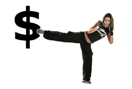 Mädchen gibt einen Kick auf das Symbol USD Standard-Bild - 7316463