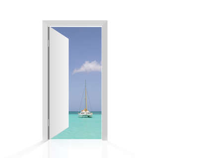 Isolated open door to beach with tropical sea and boat photo