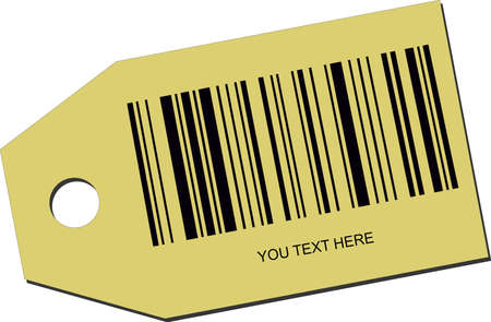 illustration of a price tag with a barcode Vector