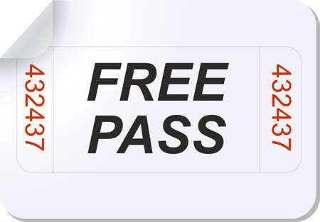 Abbildung eines Tickets mit Freikarte text  Standard-Bild - 7468592