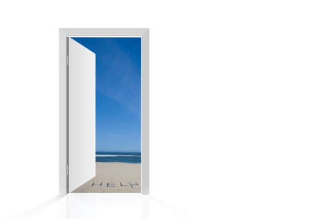 Isolated open door to beach with the word help Stock Photo - 7468589