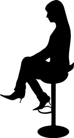 arm chairs: illustration of a women sit on the chair
