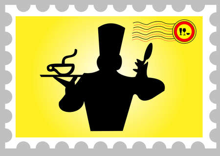 illustration of a stamp with a cooker Vector