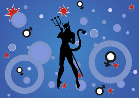 illustration of a background with a devil woman Illusztráció