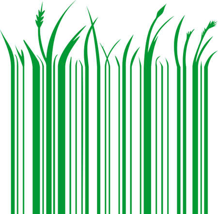 grass line: illustration of a green barcode