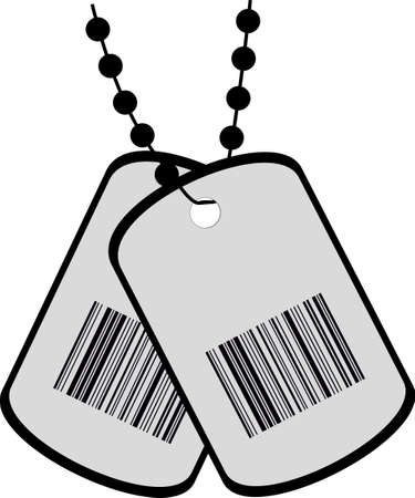 dog tag: illustration of two tags with a barcode Illustration