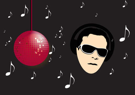 illustration of a man with headphones Vector