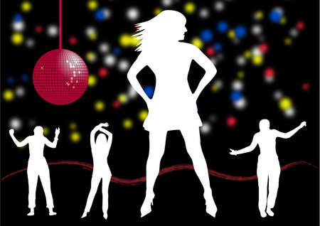 illustrator of several people dancing in a disco Vector