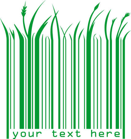 illustration of a green barcode with text Stock Illustration - 7744682