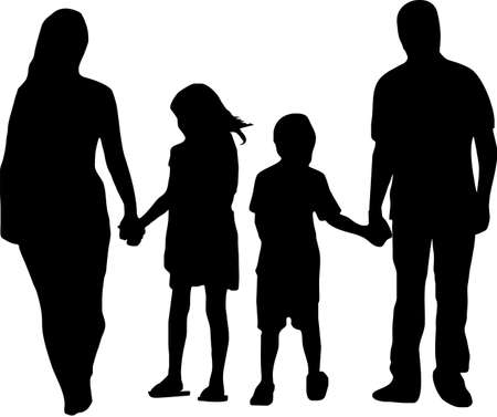 illustration of a father and mother with two kids illustration
