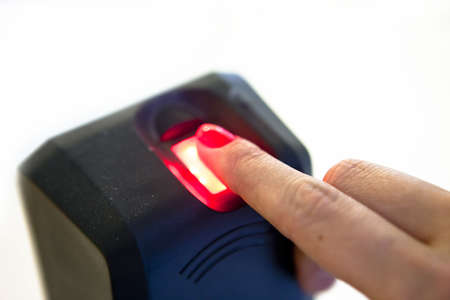 the reader: Fingerprint reader. Biometric security system Stock Photo