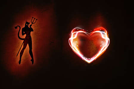 burning heart: background made of orange aluminium