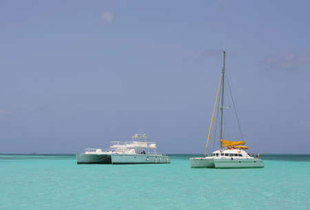 catamaran: catamaran in saona beach - caribbean sea