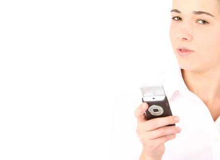 Portrait of beautiful business woman using cell phone with shallow depth feild photo