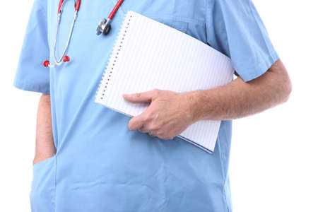 doctor holding a notepad with lines photo