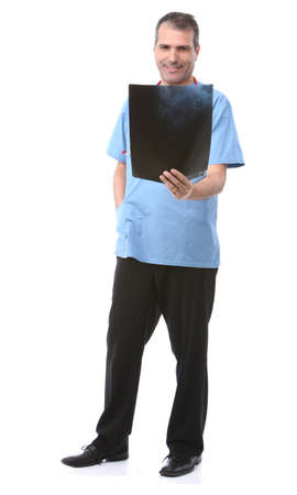 doctor looking at a xray in a white background photo