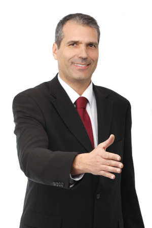 business man ready to set a deal over white background - focus on the hand
