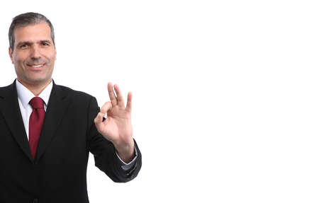 happy businessman gesturing ok isolated on white background - focus on the face