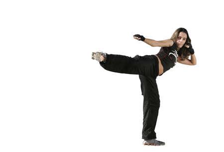girl fighting in a white background Standard-Bild