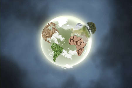 illustration of a planet with continents