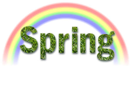 spring text made of grass with white background