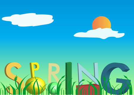 illustration of a 3D spring text illustration