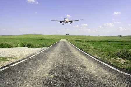 aircraft landing in a beautifull rural landscape