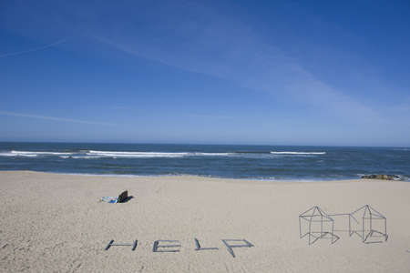 help message in the beach