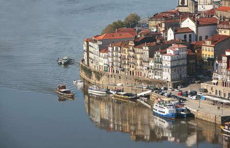 View of oporto ribeira with reflex
