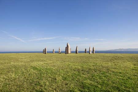 standing stones: Menhirs Park at coruna, Galicia, Spain  Stock Photo
