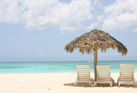 beach with palm tree and two chairs on sand Standard-Bild
